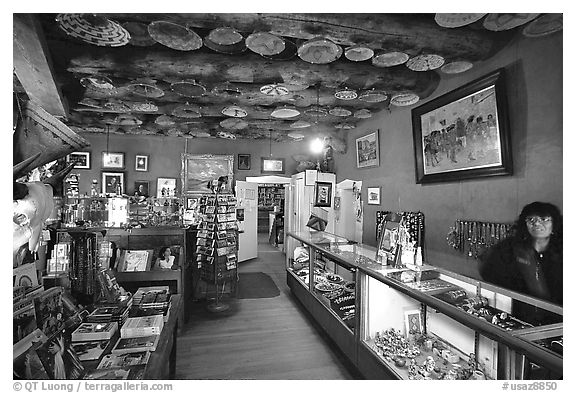 Room with baskets and jewelry for sale. Hubbell Trading Post National Historical Site, Arizona, USA (black and white)
