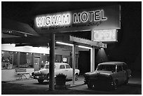 Motel with classic American cars, Holbrook. Arizona, USA ( black and white)