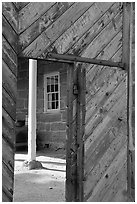 Wooden door of Winsor Castle. Pipe Spring National Monument, Arizona, USA ( black and white)