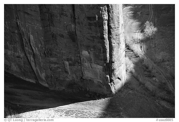Light and shadows cast by the steep walls of Canyon de Muerto. Canyon de Chelly  National Monument, Arizona, USA (black and white)