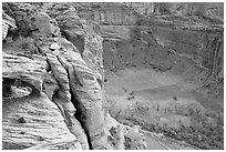 Canyon de Chelly seen from Spider Rock Overlook. Canyon de Chelly  National Monument, Arizona, USA (black and white)
