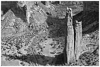 Spider Rock. Canyon de Chelly  National Monument, Arizona, USA (black and white)
