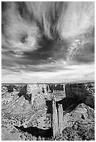 Spider Rock and skies. Canyon de Chelly  National Monument, Arizona, USA (black and white)
