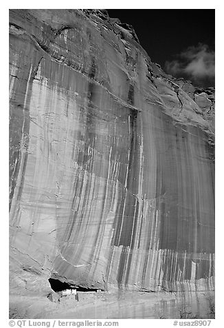 White House Ancestral Pueblan ruins and wall with desert varnish and corner of sky. Canyon de Chelly  National Monument, Arizona, USA (black and white)
