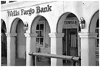 Arcades of Wells Fargo Bank, Old Tucson Studios. Tucson, Arizona, USA (black and white)