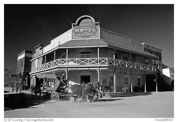 Horse carriage and saloon, Old Tucson Studios. Tucson, Arizona, USA
