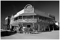 Horse carriage and saloon, Old Tucson Studios. Tucson, Arizona, USA (black and white)