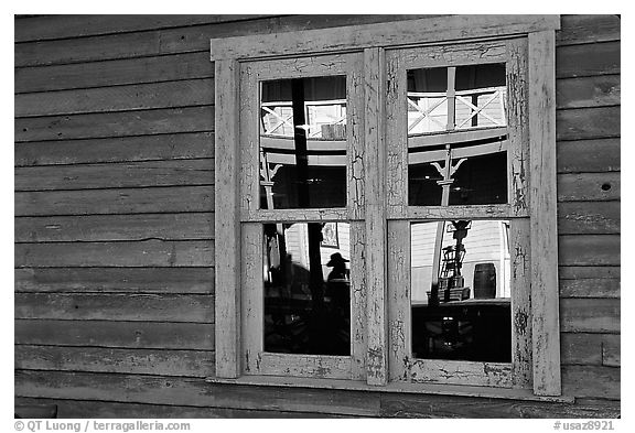 Glass reflections in a window, Old Tucson Studios. Tucson, Arizona, USA (black and white)
