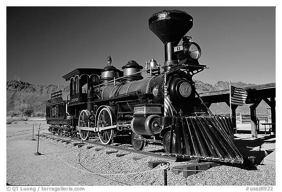 Locomotive, Old Tucson Studios. Tucson, Arizona, USA (black and white)