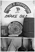 Snake Oil display, Old Tucson Studios. Tucson, Arizona, USA ( black and white)