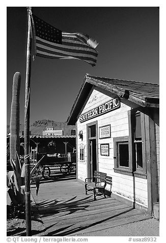 Railroad station, Old Tucson Studios. Tucson, Arizona, USA (black and white)