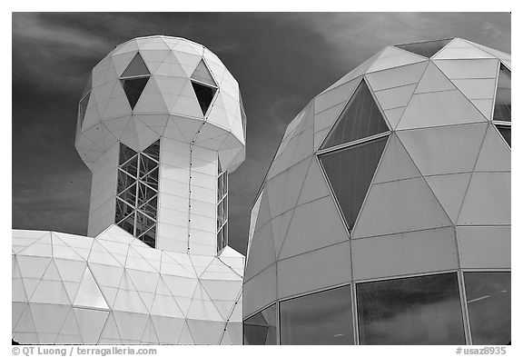 Tower and dome. Biosphere 2, Arizona, USA (black and white)
