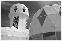 Tower and dome. Biosphere 2, Arizona, USA ( black and white)