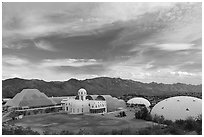 View of the complex. Biosphere 2, Arizona, USA ( black and white)