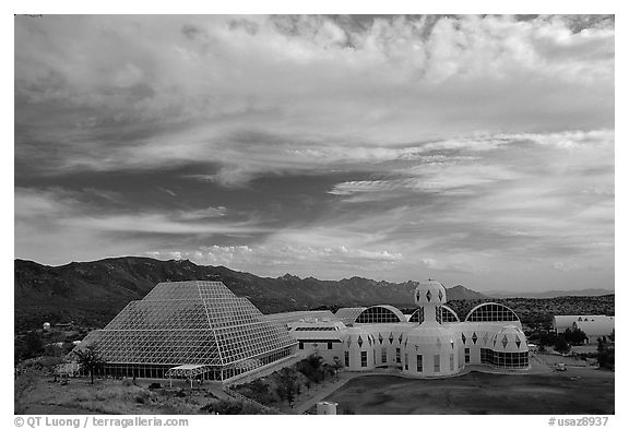 View of the complex. Biosphere 2, Arizona, USA (black and white)