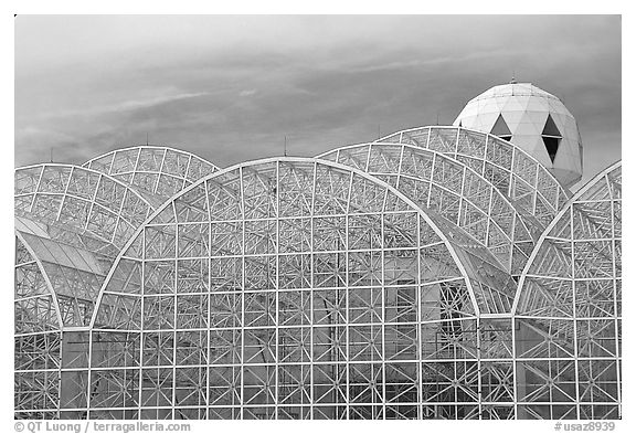 Glass enclusure and tower. Biosphere 2, Arizona, USA (black and white)