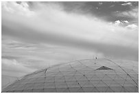 Dome and clouds. Biosphere 2, Arizona, USA (black and white)