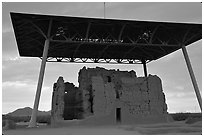 Great house at sunset, Casa Grande Ruins National Monument. Arizona, USA ( black and white)