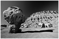 Mushroom rock near Page. Arizona, USA ( black and white)