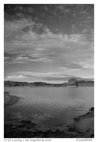 Wahweap Bay at sunset, Lake Powell, Glen Canyon National Recreation Area, Arizona. USA (black and white)