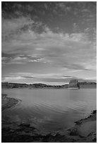 Wahweap Bay at sunset, Lake Powell, Glen Canyon National Recreation Area, Arizona. USA ( black and white)