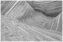 The Wave, main formation, seen from the top. Coyote Buttes, Vermilion cliffs National Monument, Arizona, USA (black and white)