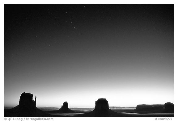 Buttes at dawn. Monument Valley Tribal Park, Navajo Nation, Arizona and Utah, USA (black and white)
