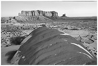 Snowy sunrise. Monument Valley Tribal Park, Navajo Nation, Arizona and Utah, USA ( black and white)