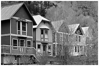 Houses with pastel colors and newly leafed trees. Telluride, Colorado, USA ( black and white)