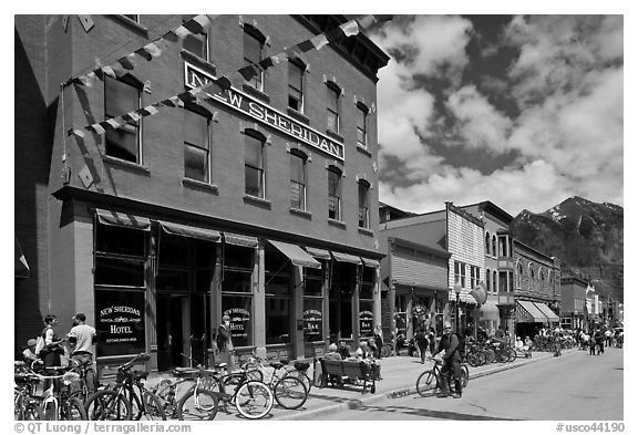 Historic New Sheridan hotel. Telluride, Colorado, USA (black and white)