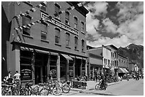 Historic New Sheridan hotel. Telluride, Colorado, USA ( black and white)