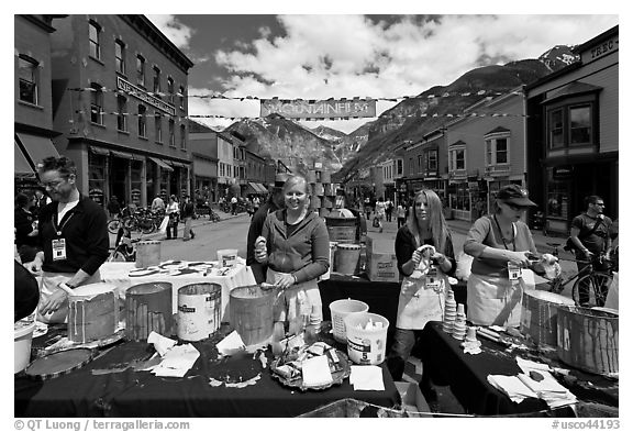 Ice cream booth, Mountainfilm. Telluride, Colorado, USA (black and white)