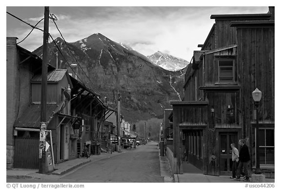 Street with old wooden buildings. Telluride, Colorado, USA (black and white)