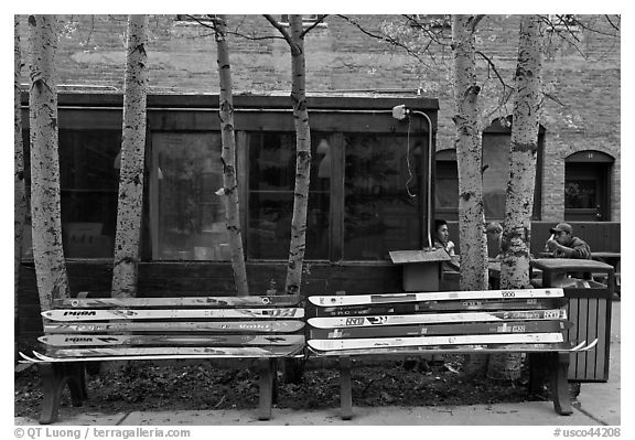 Public benches made of old skis. Telluride, Colorado, USA (black and white)
