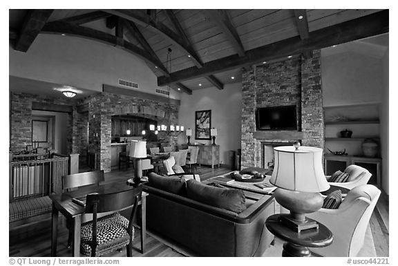 Residence lobby, Peaks resort, Mountain Village. Telluride, Colorado, USA (black and white)