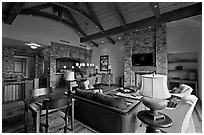 Residence lobby, Peaks resort, Mountain Village. Telluride, Colorado, USA ( black and white)
