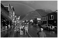 Colorado street with stormy sky and rainbow. Telluride, Colorado, USA ( black and white)