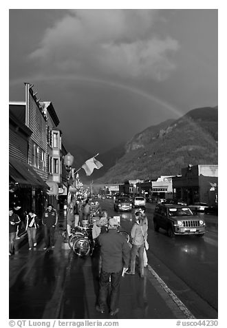 Main street sidewalk and rainbow. Telluride, Colorado, USA (black and white)
