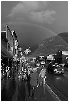 Main street sidewalk and rainbow. Telluride, Colorado, USA ( black and white)