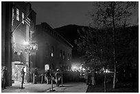 Sheridan opera house entrance by night. Telluride, Colorado, USA (black and white)
