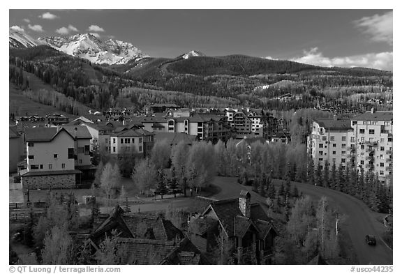 Mountain village, morning. Telluride, Colorado, USA (black and white)