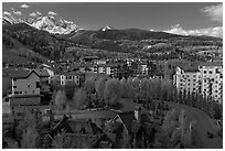 Mountain village, morning. Telluride, Colorado, USA ( black and white)