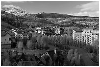 Telluride Mountain Village in the spring. Telluride, Colorado, USA ( black and white)
