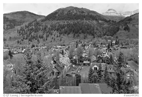 Town and mountains in the spring. Telluride, Colorado, USA (black and white)