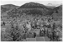Town and mountains in the spring. Telluride, Colorado, USA ( black and white)