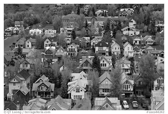 School and houses seen from above. Telluride, Colorado, USA (black and white)