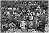 School and houses seen from above. Telluride, Colorado, USA ( black and white)