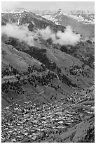 Town in mountain valley. Telluride, Colorado, USA ( black and white)