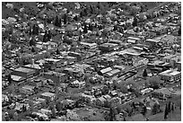 Aerial view of town. Telluride, Colorado, USA ( black and white)