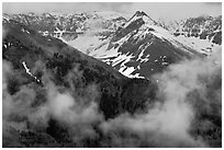 Snowy peaks and clouds. Telluride, Colorado, USA ( black and white)